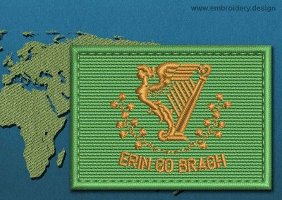 This Flag of Erin Go Bragh Rectangle with a Colour Coded border design was digitized and embroidered by www.embroidery.design.