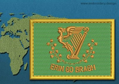 This Flag of Erin Go Bragh Rectangle with a Gold border design was digitized and embroidered by www.embroidery.design.