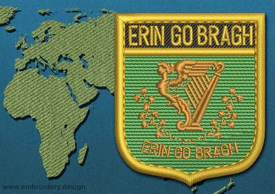 This Flag of Erin Go Bragh Shield with a Gold border design was digitized and embroidered by www.embroidery.design.