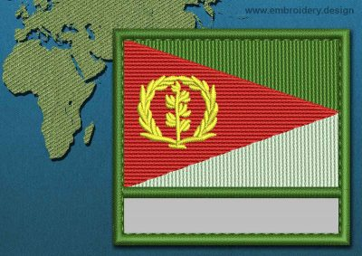 This Flag of Eritrea Customizable Text  with a Colour Coded border design was digitized and embroidered by www.embroidery.design.
