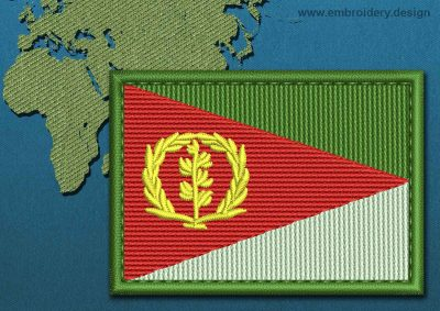 This Flag of Eritrea Rectangle with a Colour Coded border design was digitized and embroidered by www.embroidery.design.