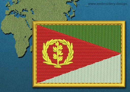 This Flag of Eritrea Rectangle with a Gold border design was digitized and embroidered by www.embroidery.design.