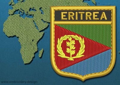 This Flag of Eritrea Shield with a Gold border design was digitized and embroidered by www.embroidery.design.