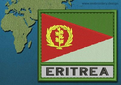 This Flag of Eritrea Text with a Colour Coded border design was digitized and embroidered by www.embroidery.design.