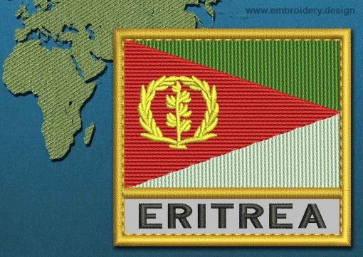 This Flag of Eritrea Text with a Gold border design was digitized and embroidered by www.embroidery.design.