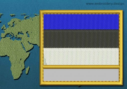 This Flag of Estonia Customizable Text  with a Gold border design was digitized and embroidered by www.embroidery.design.