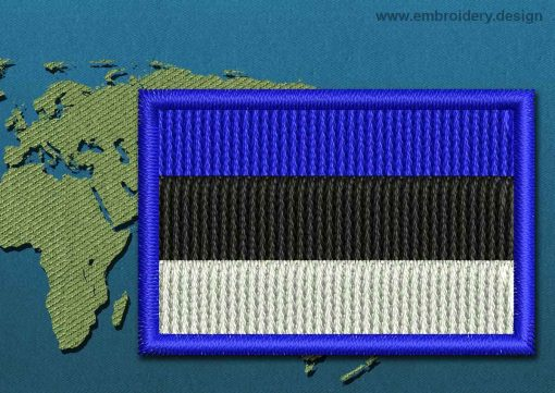 This Flag of Estonia Mini with a Colour Coded border design was digitized and embroidered by www.embroidery.design.