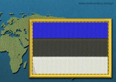 This Flag of Estonia Rectangle with a Gold border design was digitized and embroidered by www.embroidery.design.