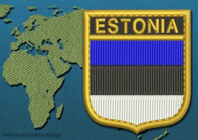 This Flag of Estonia Shield with a Gold border design was digitized and embroidered by www.embroidery.design.