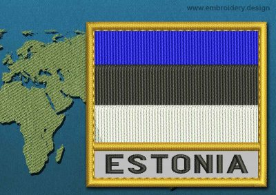 This Flag of Estonia Text with a Gold border design was digitized and embroidered by www.embroidery.design.