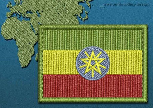 This Flag of ETHIOPIA Rectangle with a Colour Coded border design was digitized and embroidered by www.embroidery.design.