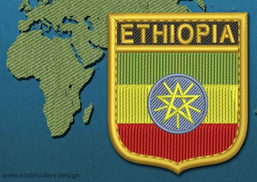 This Flag of ETHIOPIA Shield with a Gold border design was digitized and embroidered by www.embroidery.design.