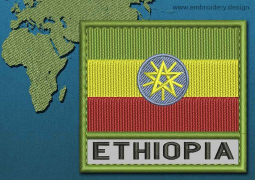 This Flag of ETHIOPIA Text with a Colour Coded border design was digitized and embroidered by www.embroidery.design.