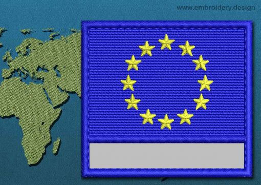 This Flag of European Union Customizable Text  with a Colour Coded border design was digitized and embroidered by www.embroidery.design.