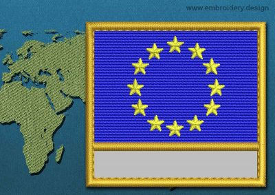 This Flag of European Union Customizable Text  with a Gold border design was digitized and embroidered by www.embroidery.design.