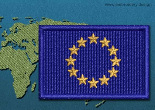 This Flag of European Union Mini with a Colour Coded border design was digitized and embroidered by www.embroidery.design.