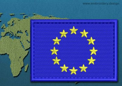 This Flag of European Union Rectangle with a Colour Coded border design was digitized and embroidered by www.embroidery.design.