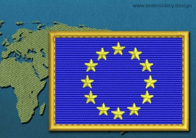 This Flag of European Union Rectangle with a Gold border design was digitized and embroidered by www.embroidery.design.