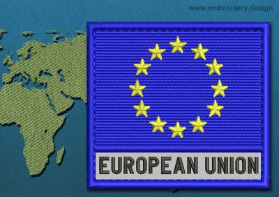 This Flag of European Union Text with a Colour Coded border design was digitized and embroidered by www.embroidery.design.