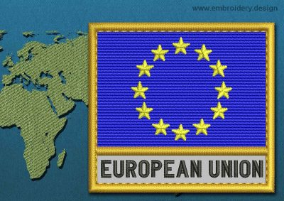 This Flag of European Union Text with a Gold border design was digitized and embroidered by www.embroidery.design.