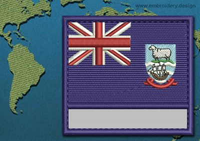 This Flag of Falkland Islands (Islas Malvinas) Customizable Text  with a Colour Coded border design was digitized and embroidered by www.embroidery.design.
