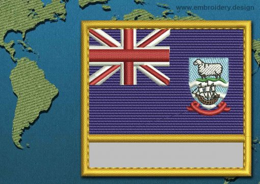 This Flag of Falkland Islands (Islas Malvinas) Customizable Text  with a Gold border design was digitized and embroidered by www.embroidery.design.
