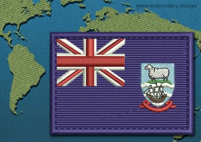 This Flag of Falkland Islands (Islas Malvinas) Rectangle with a Colour Coded border design was digitized and embroidered by www.embroidery.design.
