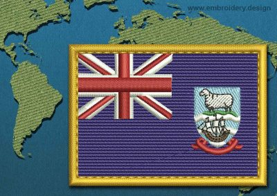 This Flag of Falkland Islands (Islas Malvinas) Rectangle with a Gold border design was digitized and embroidered by www.embroidery.design.