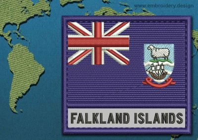 This Flag of Falkland Islands (Islas Malvinas) Text with a Colour Coded border design was digitized and embroidered by www.embroidery.design.