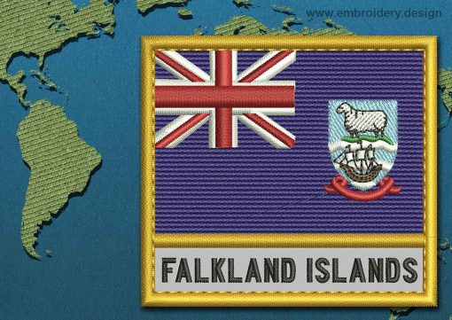 This Flag of Falkland Islands (Islas Malvinas) Text with a Gold border design was digitized and embroidered by www.embroidery.design.