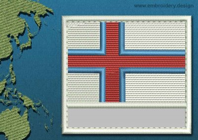 This Flag of Faroe Islands Customizable Text  with a Colour Coded border design was digitized and embroidered by www.embroidery.design.