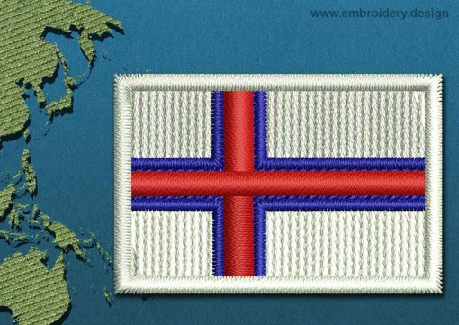 This Flag of Faroe Islands Mini with a Colour Coded border design was digitized and embroidered by www.embroidery.design.