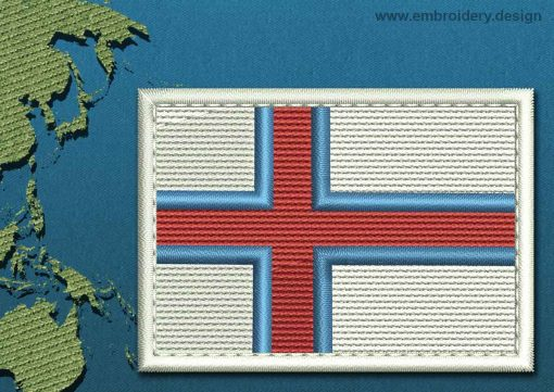 This Flag of Faroe Islands Rectangle with a Colour Coded border design was digitized and embroidered by www.embroidery.design.
