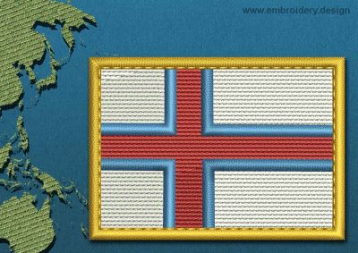 This Flag of Faroe Islands Rectangle with a Gold border design was digitized and embroidered by www.embroidery.design.