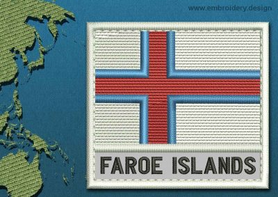 This Flag of Faroe Islands Text with a Colour Coded border design was digitized and embroidered by www.embroidery.design.