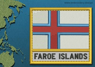 This Flag of Faroe Islands Text with a Gold border design was digitized and embroidered by www.embroidery.design.