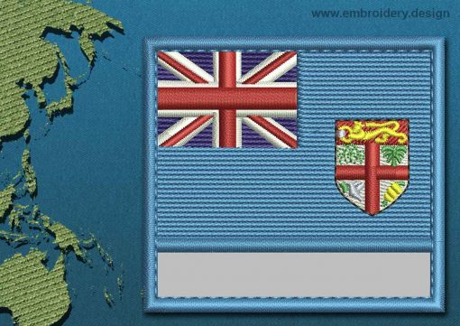 This Flag of Fiji Customizable Text  with a Colour Coded border design was digitized and embroidered by www.embroidery.design.