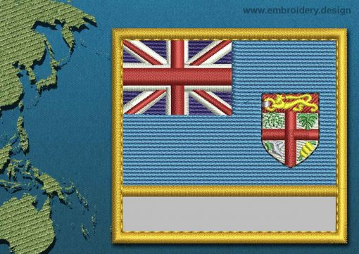 This Flag of Fiji Customizable Text  with a Gold border design was digitized and embroidered by www.embroidery.design.