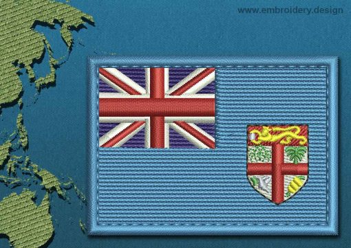 This Flag of Fiji Rectangle with a Colour Coded border design was digitized and embroidered by www.embroidery.design.