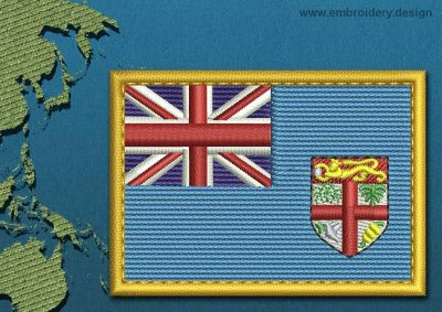 This Flag of Fiji Rectangle with a Gold border design was digitized and embroidered by www.embroidery.design.