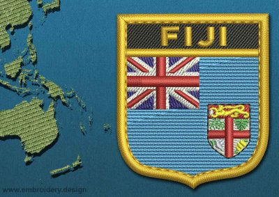 This Flag of Fiji Shield with a Gold border design was digitized and embroidered by www.embroidery.design.