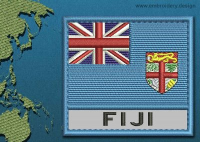 This Flag of Fiji Text with a Colour Coded border design was digitized and embroidered by www.embroidery.design.