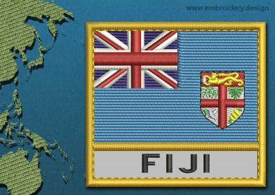 This Flag of Fiji Text with a Gold border design was digitized and embroidered by www.embroidery.design.