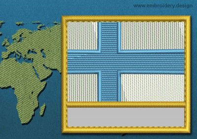 This Flag of Finland Customizable Text  with a Gold border design was digitized and embroidered by www.embroidery.design.