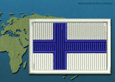 This Flag of Finland Mini with a Colour Coded border design was digitized and embroidered by www.embroidery.design.