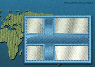 This Flag of Finland Rectangle with a Colour Coded border design was digitized and embroidered by www.embroidery.design.
