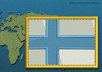 This Flag of Finland Rectangle with a Gold border design was digitized and embroidered by www.embroidery.design.