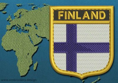 This Flag of Finland Shield with a Gold border design was digitized and embroidered by www.embroidery.design.