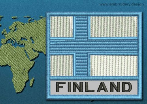 This Flag of Finland Text with a Colour Coded border design was digitized and embroidered by www.embroidery.design.
