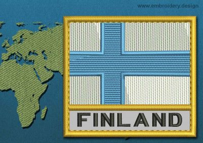This Flag of Finland Text with a Gold border design was digitized and embroidered by www.embroidery.design.